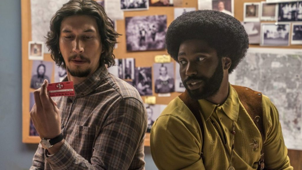 "Adam Driver, left, and John David Washington in a scene from Spike Lee's ""BlacKkKlansman."" (Photo/David Lee-Focus Features)"